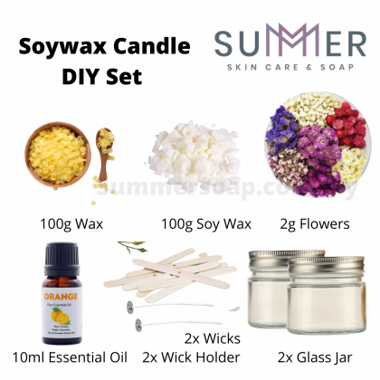 Summer Soap Handmade Soywax Candle DIY Set / Hand Pour Soy Wax Candle DIY Set