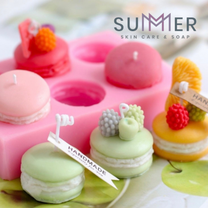 Summer Soap Macaron 6 Holes Mold Handmade Soaps Mold/ Candle Mold/ Cookies Mould/ Creative Kitchen Decorating Tools (SM125) 马克龙6连模具
