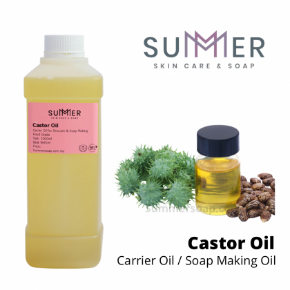 Castor Oil 1000ml (1L) Pure Cold Pressed 1st Grade Oil 高级蓖麻油 Soap Making Carrier Oil/ Skincare DIY/ Lip-gloss lipbalm DIY