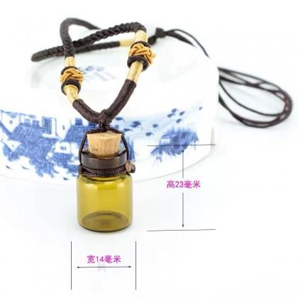 Amber Glass Essential Oil Bottle Necklace 2ml 茶色香薰精油瓶项链吊坠